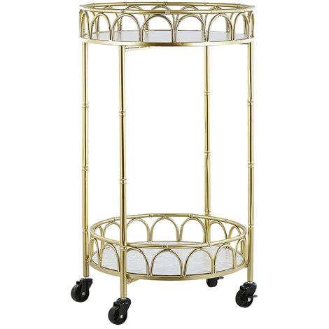 Kitchen Trolley Wheeled Bar Cart Glamour Style Marble Effect Top Gold Shafter