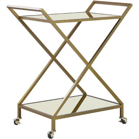 Kitchen Trolley Wheeled Bar Cart Glamour Style Mirrored Glass Top Gold Ivera