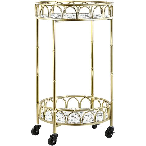 Kitchen Trolley Wheeled Bar Cart Glamour Style Terrazzo Effect Top Gold Shafter