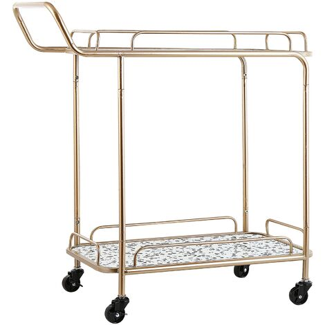 Kitchen Trolley Wheeled Bar Cart with Handle Terazzo Effect Top Gold Galena