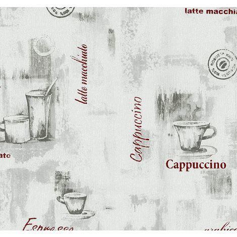 Kitchen Wallpaper Coffee Mug Embossed Vinyl Grey Red Modern Luxury P+S