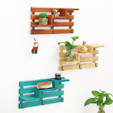 Kitchen Wooden Rack Shower Shampoo Storage Holder Wall Shelf Bathroom Organiser