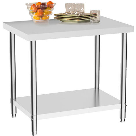 Kitchen Work Table 90x60x80 cm Stainless Steel