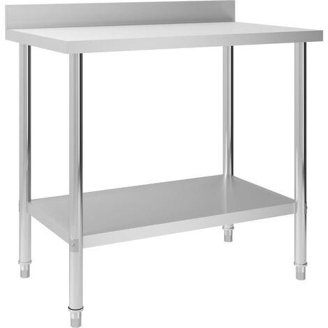 Kitchen Work Table with Backsplash 100x60x93 cm Stainless Steel