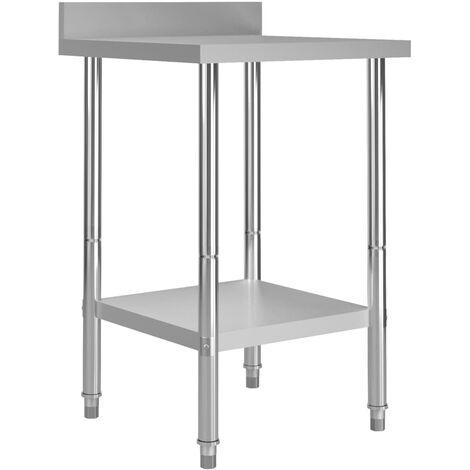 Kitchen Work Table with Backsplash 60x60x93 cm Stainless Steel