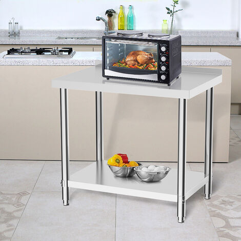 Kitchen Work Table with Backsplash 90x60x80 cm Stainless Steel