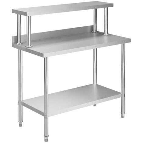 Kitchen Work Table with Overshelf 120x60x120 cm Stainless Steel