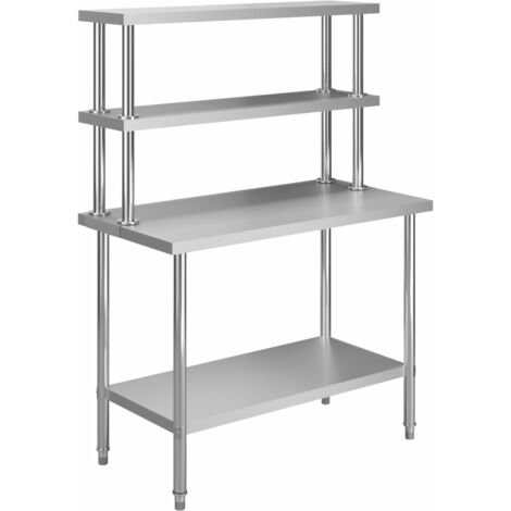 Kitchen Work Table with Overshelf 120x60x150 cm Stainless Steel