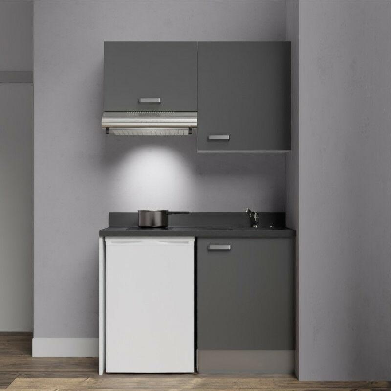 Kitchenette K01 - 120cm avec emplacement frigo top et hotte   MACADAM - NERO - Vasque à droite