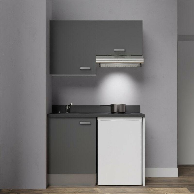 Kitchenette K01 - 120cm avec emplacement frigo top et hotte   MACADAM - NERO - Vasque à gauche