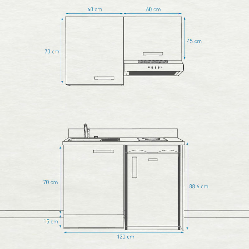 Kitchenette 120 - Kitchenette K01 - 120cm avec emplacement frigo top et hotte | SNOVA - PIN BLANC - Vasque à gauche