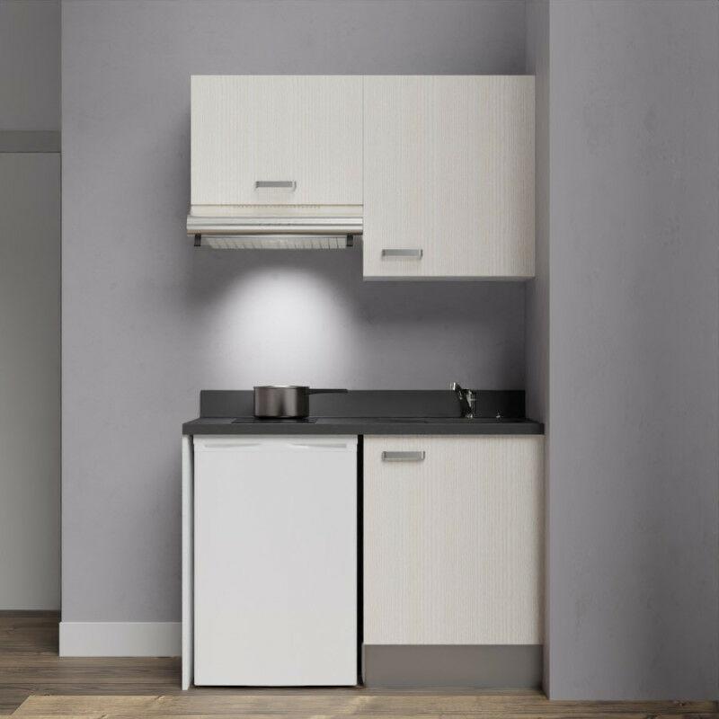 Kitchenette K01 - 120cm avec emplacement frigo top et hotte   NERO - PIN BLANC - Vasque à droite