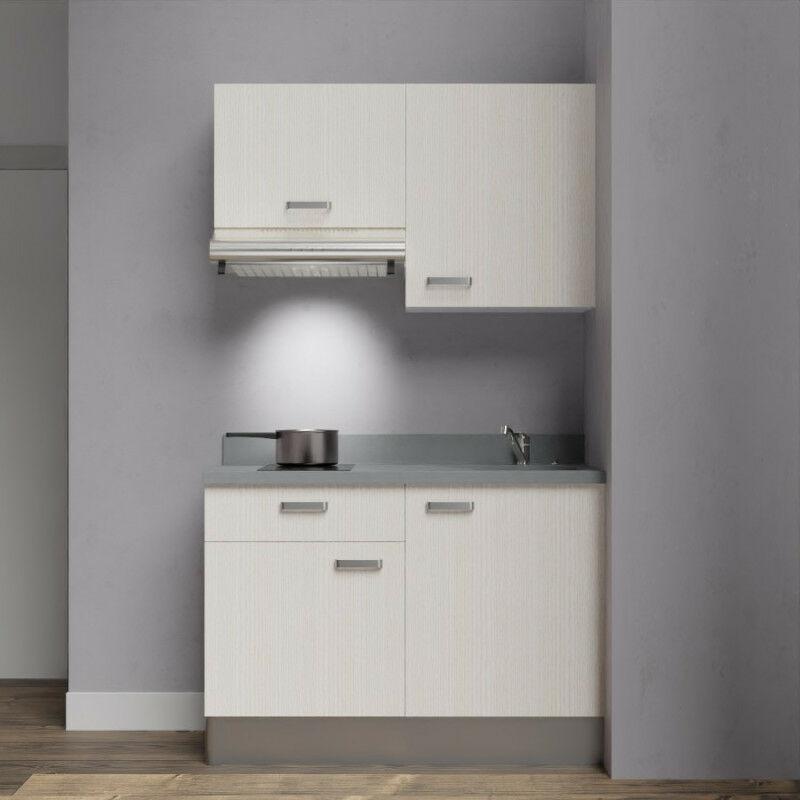 Kitchenette 120 - Kitchenette K03 - 120 cm avec rangements et hotte | CROMO - PIN BLANC - Vasque à droite