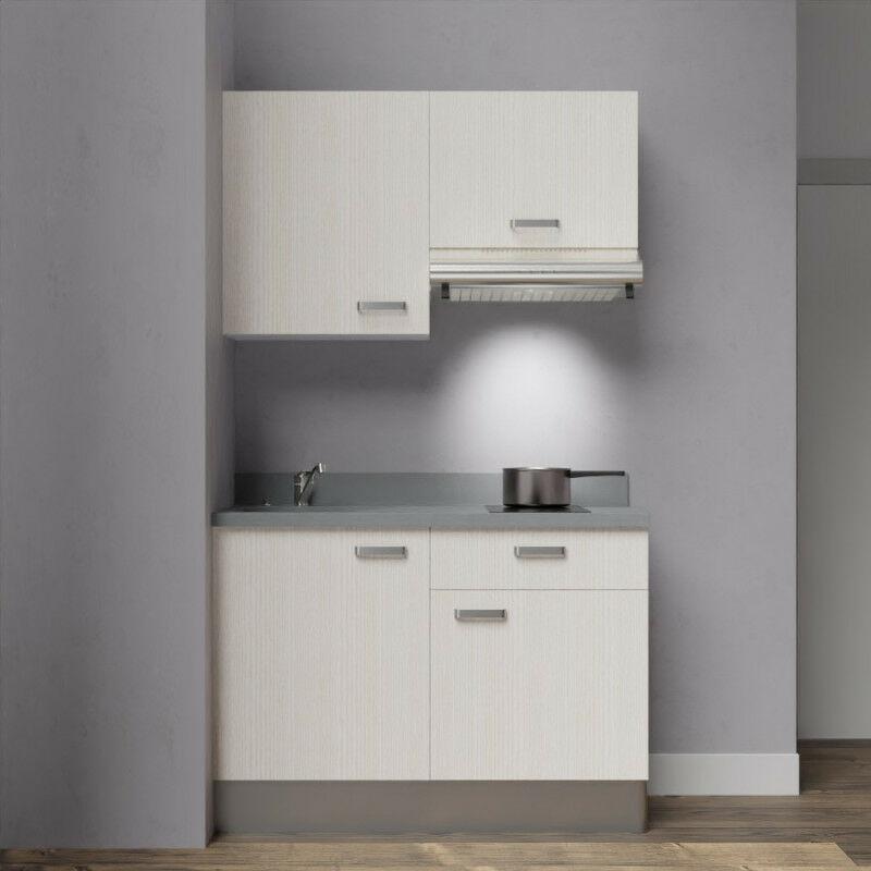 Kitchenette 120 - Kitchenette K03 - 120 cm avec rangements et hotte | CROMO - PIN BLANC - Vasque à gauche