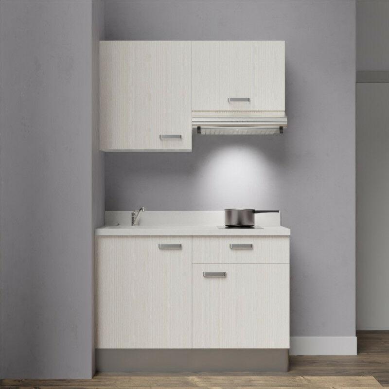 Kitchenette 120 - Kitchenette K03 - 120 cm avec rangements et hotte | SNOVA - PIN BLANC - Vasque à gauche