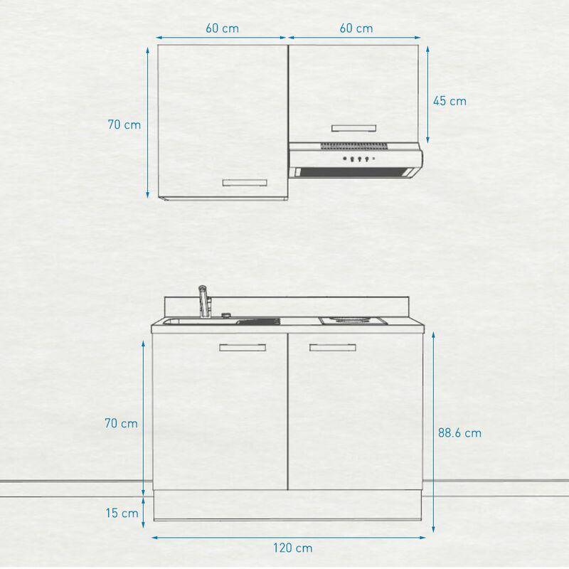 Kitchenette 120 - Kitchenette K04 - 120 cm avec rangements et hotte | CROMO - PIN BLANC - Vasque à droite
