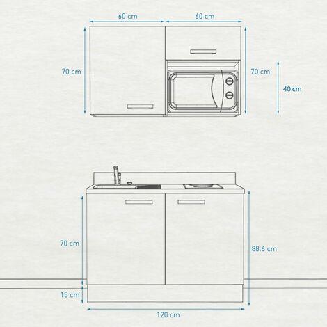 Kitchenette K05 - 120 cm avec emplacement micro-ondes