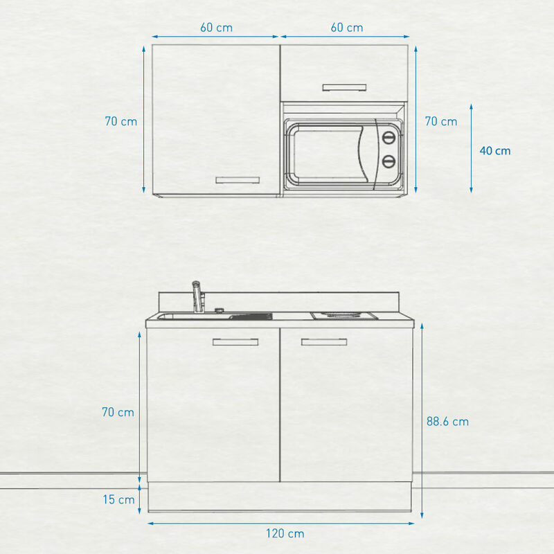 Kitchenette 120 - Kitchenette K05 - 120 cm avec emplacement micro-ondes | CROMO - MACADAM - Vasque à gauche