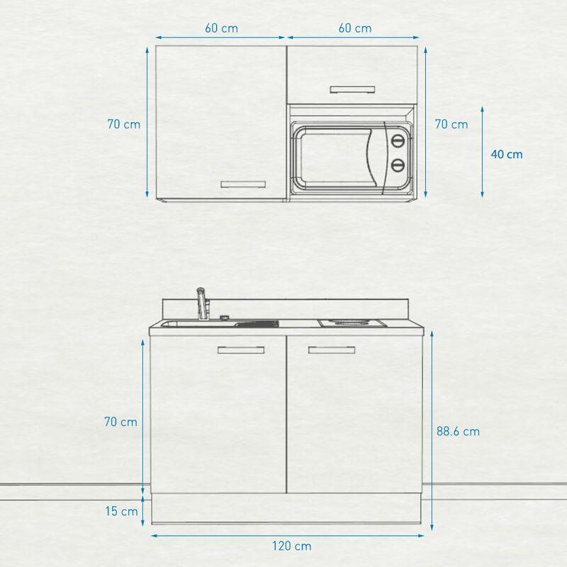 Kitchenette K05 - 120cm avec emplacement micro-ondes   CROMO - PIN BLANC - Vasque à gauche