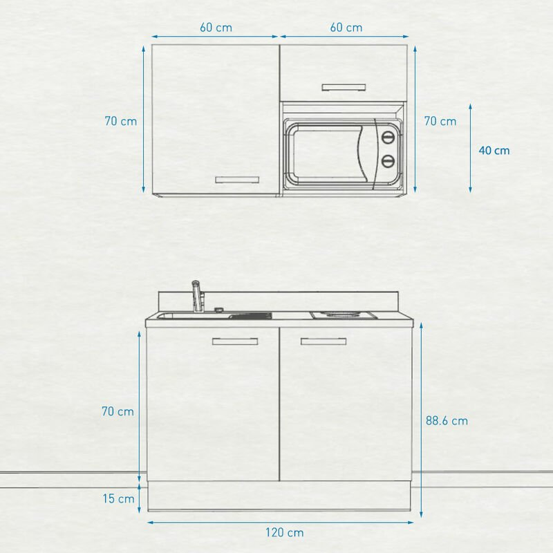 Kitchenette 120 - Kitchenette K05 - 120cm avec emplacement micro-ondes | NERO - PIN BLANC - Vasque à gauche