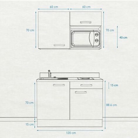 Kitchenette K06 - 120 cm avec emplacement micro-ondes