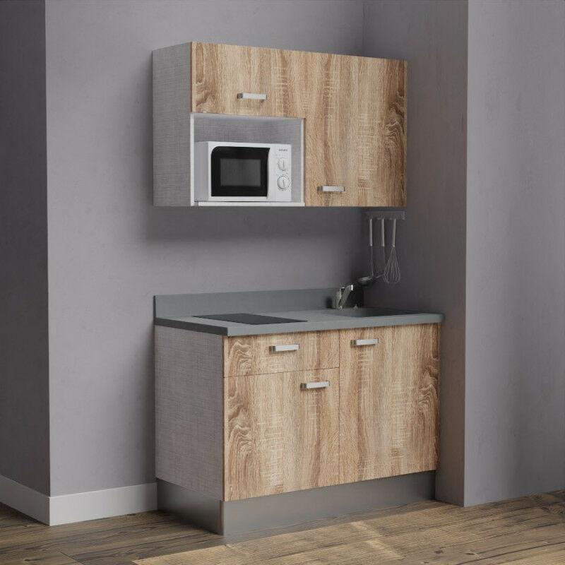 Kitchenette 120 - Kitchenette K06 - 120 cm avec emplacement micro-ondes | CROMO - BARDOLINO - Vasque à droite