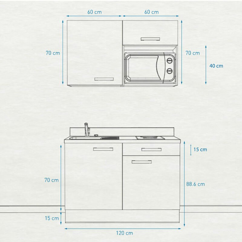 Kitchenette 120 - Kitchenette K06 - 120 cm avec emplacement micro-ondes | SNOVA - MACADAM - Vasque à droite