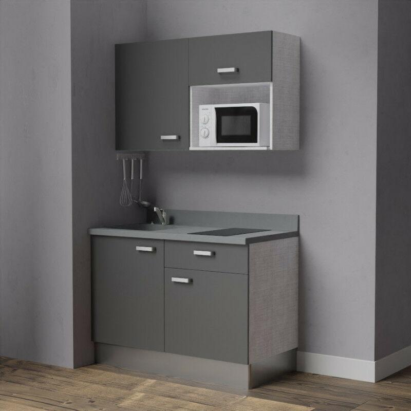 Kitchenette 120 - Kitchenette K06 - 120 cm avec emplacement micro-ondes | CROMO - MACADAM - Vasque à gauche