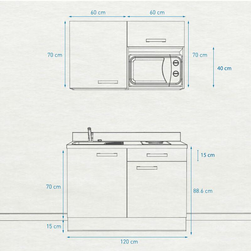 Kitchenette 120 - Kitchenette K06 - 120 cm avec emplacement micro-ondes | NERO - PIN BLANC - Vasque à droite