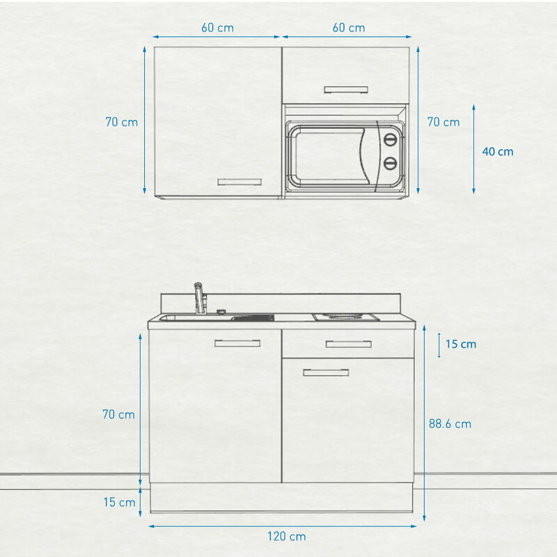 Kitchenette 120 - Kitchenette K06 - 120cm avec emplacement micro-ondes | NERO - PIN BLANC - Vasque à gauche