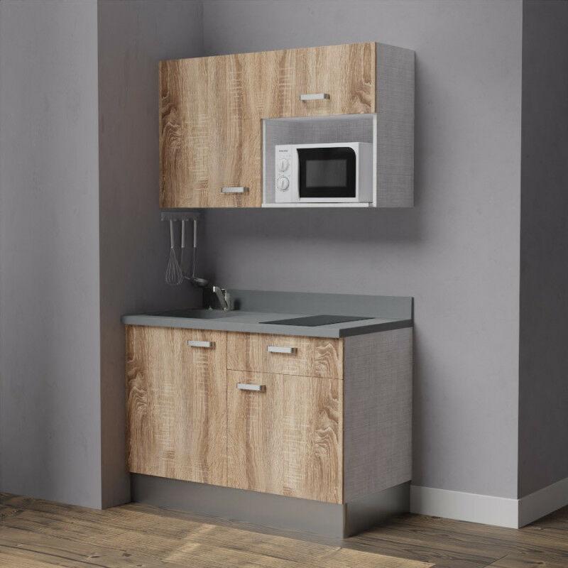 Kitchenette K06 - 120cm avec emplacement micro-ondes   CROMO - BARDOLINO - Vasque à gauche