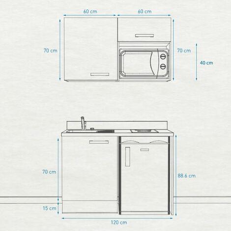 Kitchenette K07 - 120 cm avec emplacement frigo top et micro-ondes