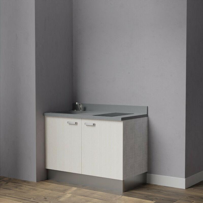 Kitchenette K09 - 120 cm avec rangements   CROMO - PIN BLANC - Vasque à gauche