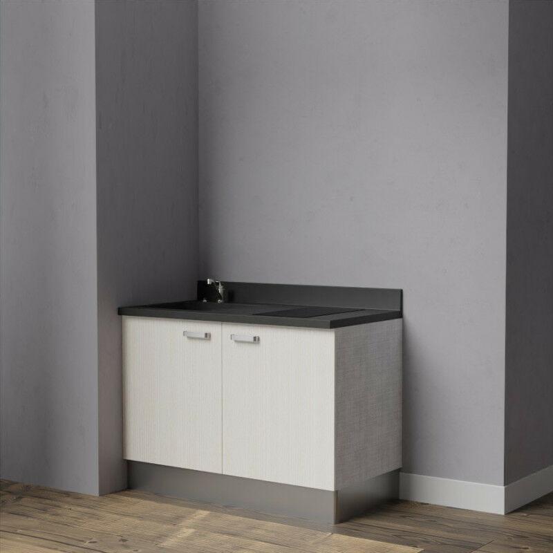 Kitchenette K09 - 120 cm avec rangements   NERO - PIN BLANC - Vasque à gauche