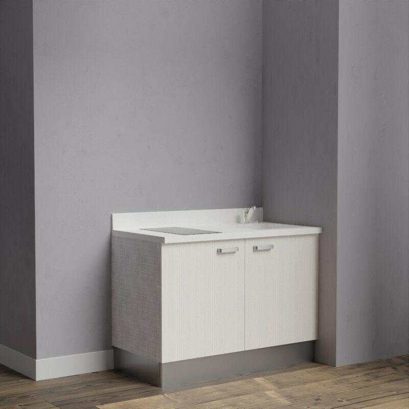 Kitchenette K09 - 120 cm avec rangements   SNOVA - PIN BLANC - Vasque à droite