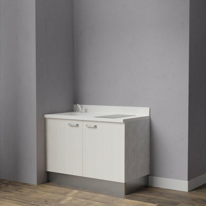 Kitchenette K09 - 120 cm avec rangements   SNOVA - PIN BLANC - Vasque à gauche