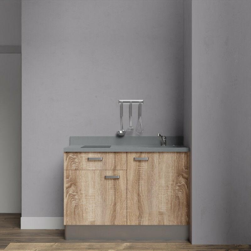 Kitchenette K10 - 120 cm avec rangements et un tiroir   CROMO - BARDOLINO - Vasque à droite