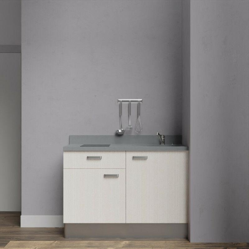 Kitchenette 120 - Kitchenette K10 - 120 cm avec rangements et un tiroir | CROMO - PIN BLANC - Vasque à droite