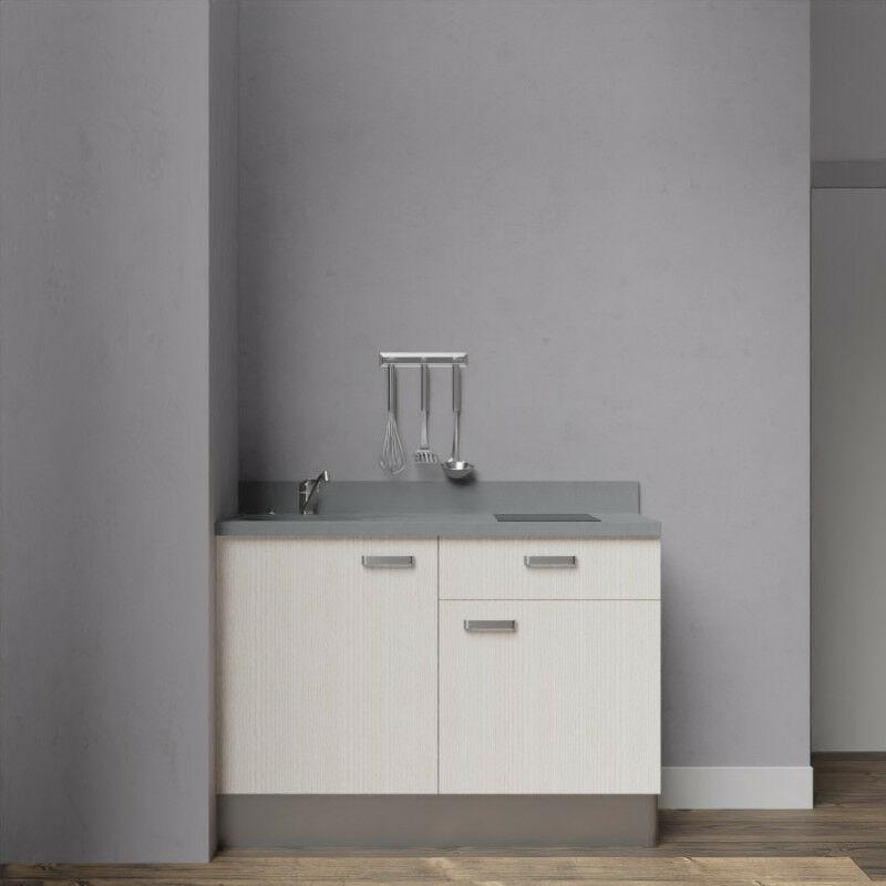 Kitchenette K10 - 120 cm avec rangements et un tiroir | CROMO - PIN BLANC - Vasque à gauche