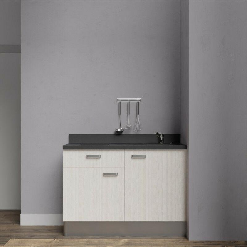 Kitchenette 120 - Kitchenette K10 - 120 cm avec rangements et un tiroir | NERO - PIN BLANC - Vasque à droite