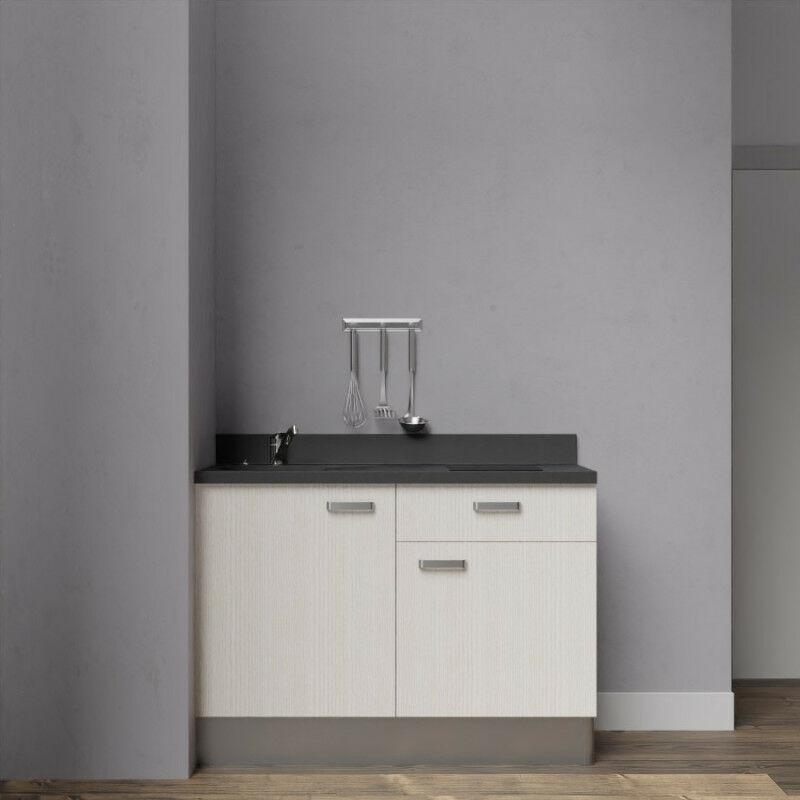Kitchenette 120 - Kitchenette K10 - 120 cm avec rangements et un tiroir | NERO - PIN BLANC - Vasque à gauche