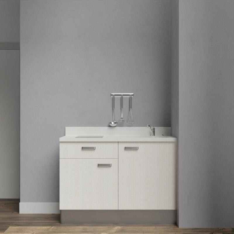 Kitchenette 120 - Kitchenette K10 - 120 cm avec rangements et un tiroir | SNOVA - PIN BLANC - Vasque à droite