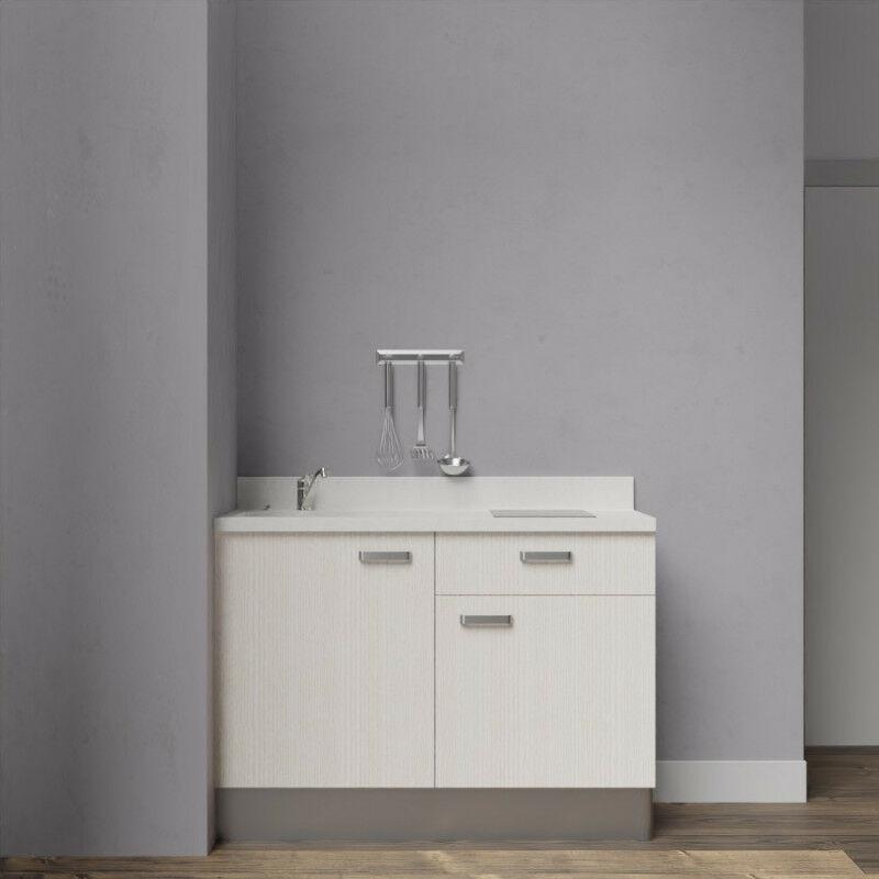 Kitchenette 120 - Kitchenette K10 - 120 cm avec rangements et un tiroir | SNOVA - PIN BLANC - Vasque à gauche