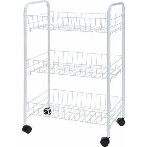 Kitchentrolley - Küchenwagen mit 3 Ablagen 40x26x62 cm - Farbe: weiß