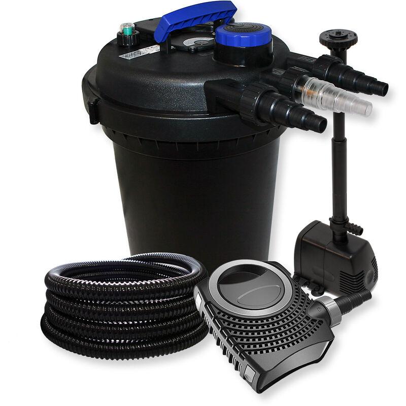 Wiltec - Kit de Filtration à Pression avec 10000l Filter, UV 11W, 70W Pompe, Tuyau et Pompe de Fontaine