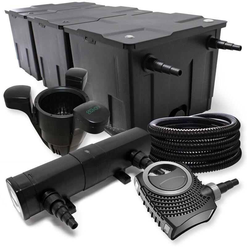 Wiltec - Kit de Filtration avec Bio Filtre 90000l, UVC Stérilisateur 24W, 80W Pompe, Tuyau, Skimmer