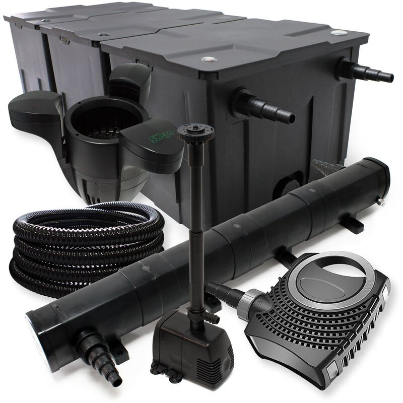 Wiltec - Kit de Filtration avec Bio Filtre jusqu'à 90000l, UV 72W, 80W Pompe, Tuyau et Pompe de Fontaine