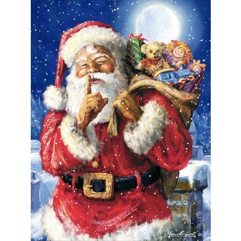 Kits de peinture diamant Père Noël 5D pour adultes, kit de peinture diamant de Noël par numéro, broderie au point de croix pour décoration murale