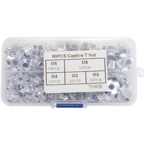 Kits de tornillos de enchufe de tuerca en T cautivos multifuncionales de 90 piezas