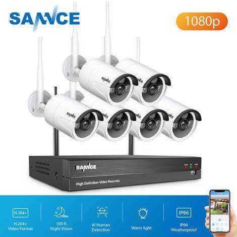"""main image of """"Kits de videovigilancia SANNCE Sistema de cámara de seguridad IP WiFi de 8 canales con 6 piezas 1080p Cámaras de vigilancia CCTV inalámbricas para exteriores AI Detección humana con disco duro de 1TB"""""""